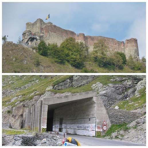 Ruiny Zamku Poenari, wjazd do najdłuższego tunelu na Trasie Transfogaraskiej (884m), Rumunia•foto: Wikipedia
